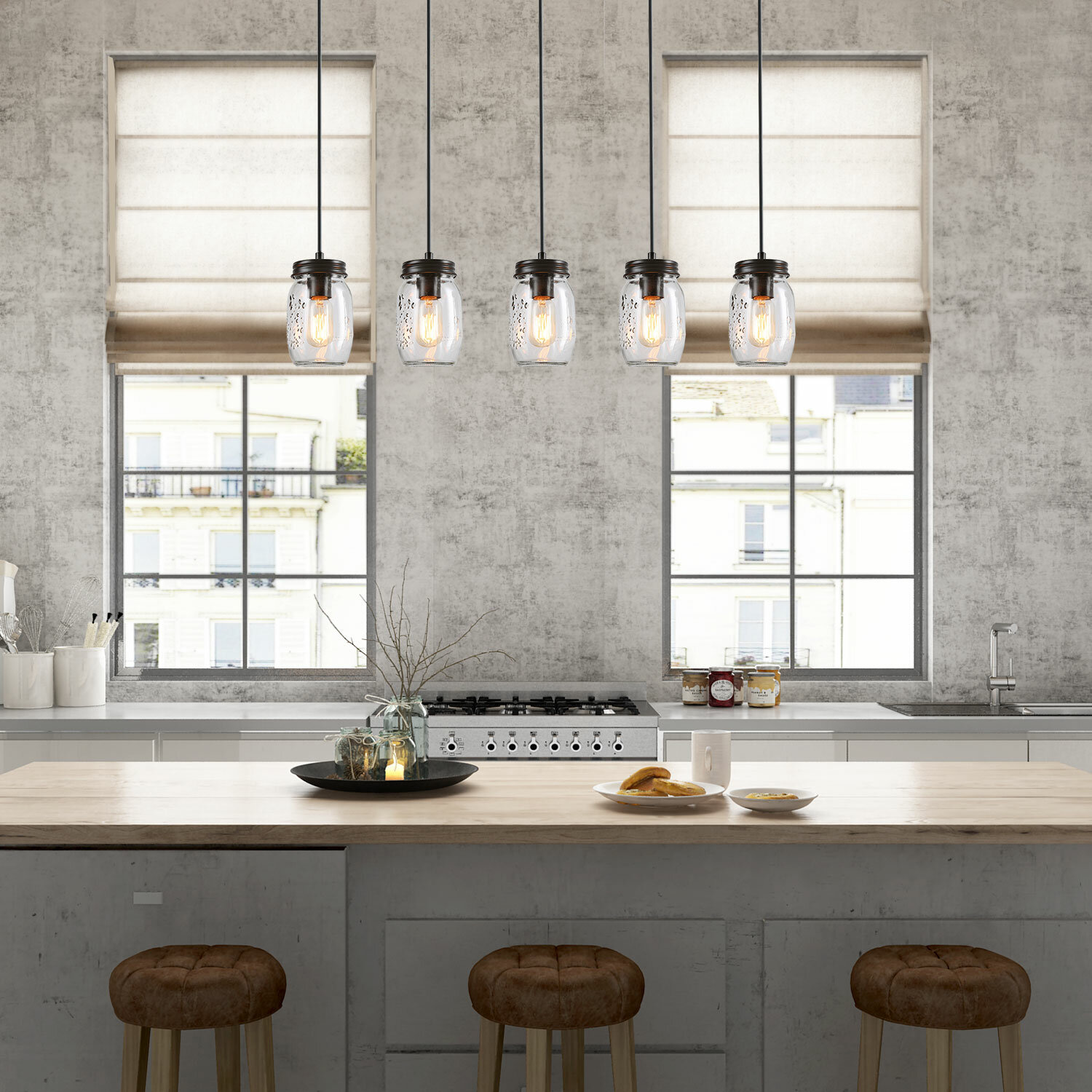 10 - Light Kitchen Island Linear Pendant