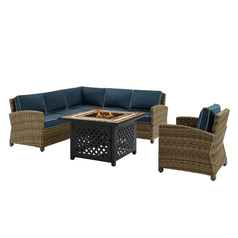 Lawson 5 Piece Rattan Sectional Seating Group With Cushions Birch Lane