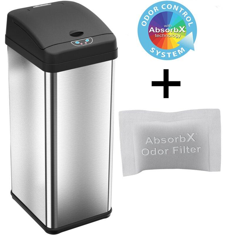 Rebrilliant Ericksen 13 Gallon Motion Sensor Trash Can Reviews Wayfair