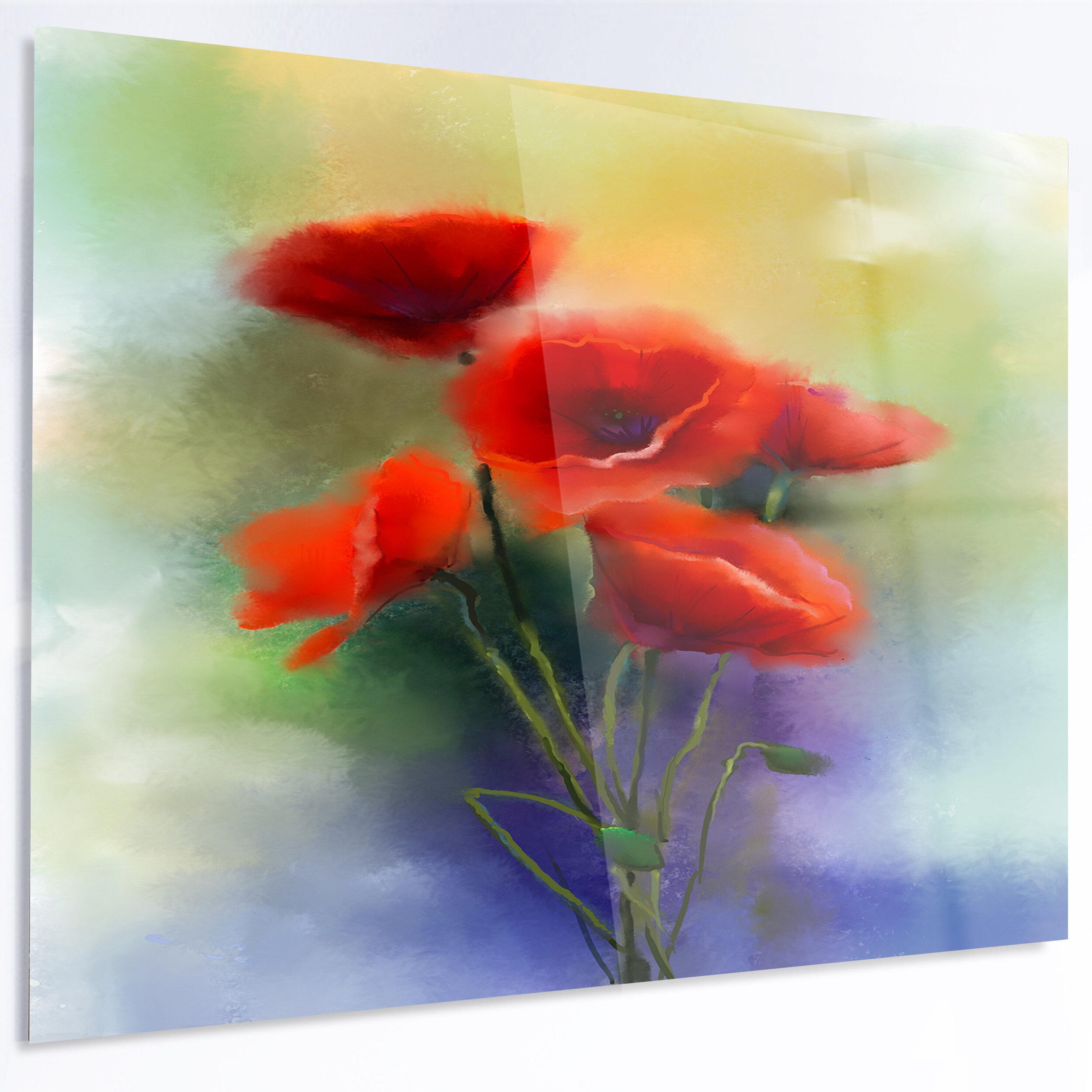Designart Red Poppy Flowers Watercolor Painting Print On Metal