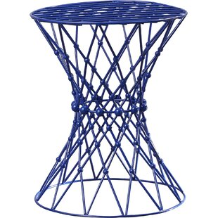 Vanbuskirk Iron Wire Blue Accent Stool