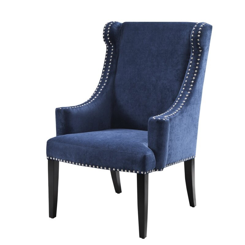Marcel Wingback Chair Upholstery: Blue