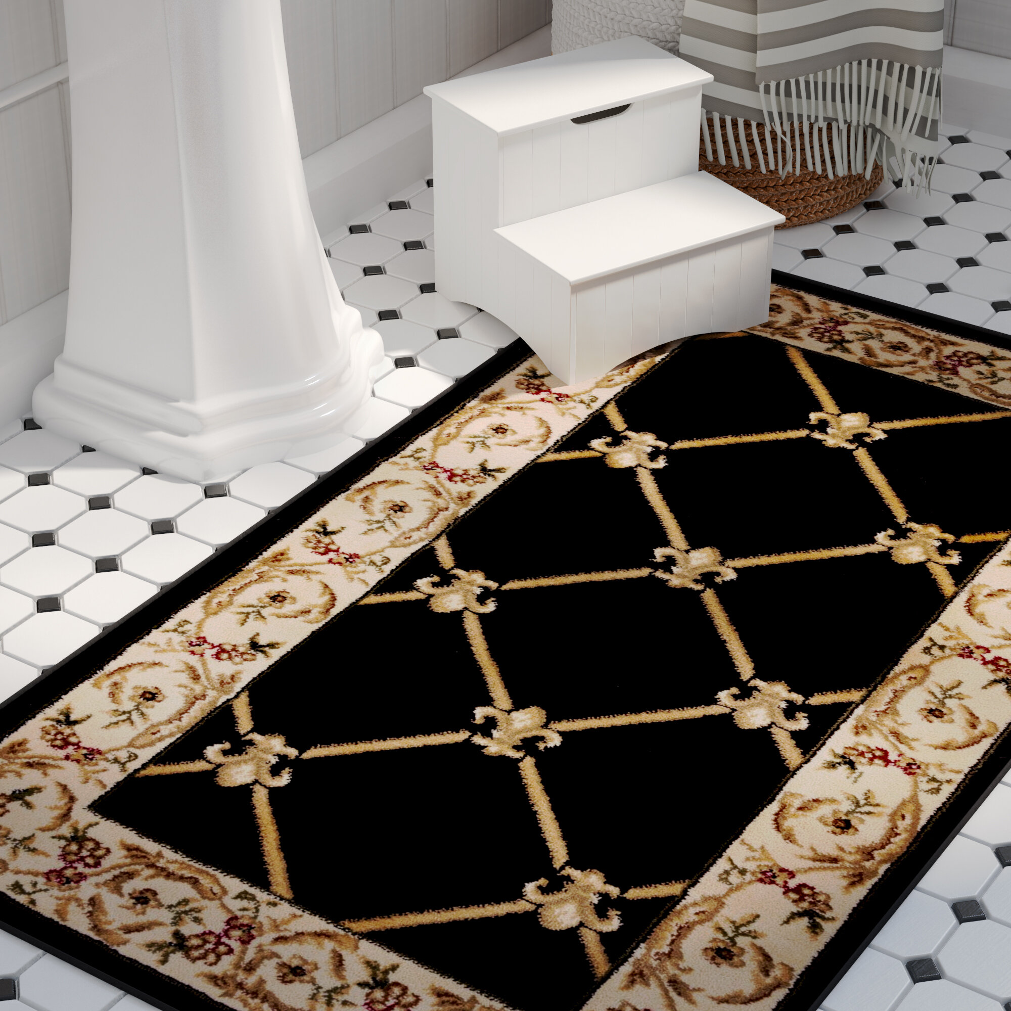 Astoria Grand Colindale Fleur De Lis Black Area Rug Reviews Wayfair