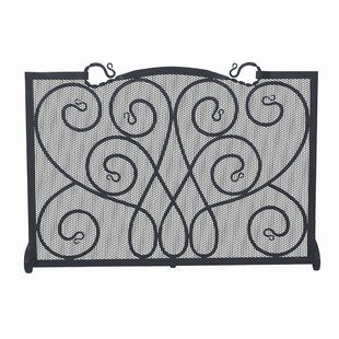 Single Panel Ornate Wrought Iron Fireplace Screen