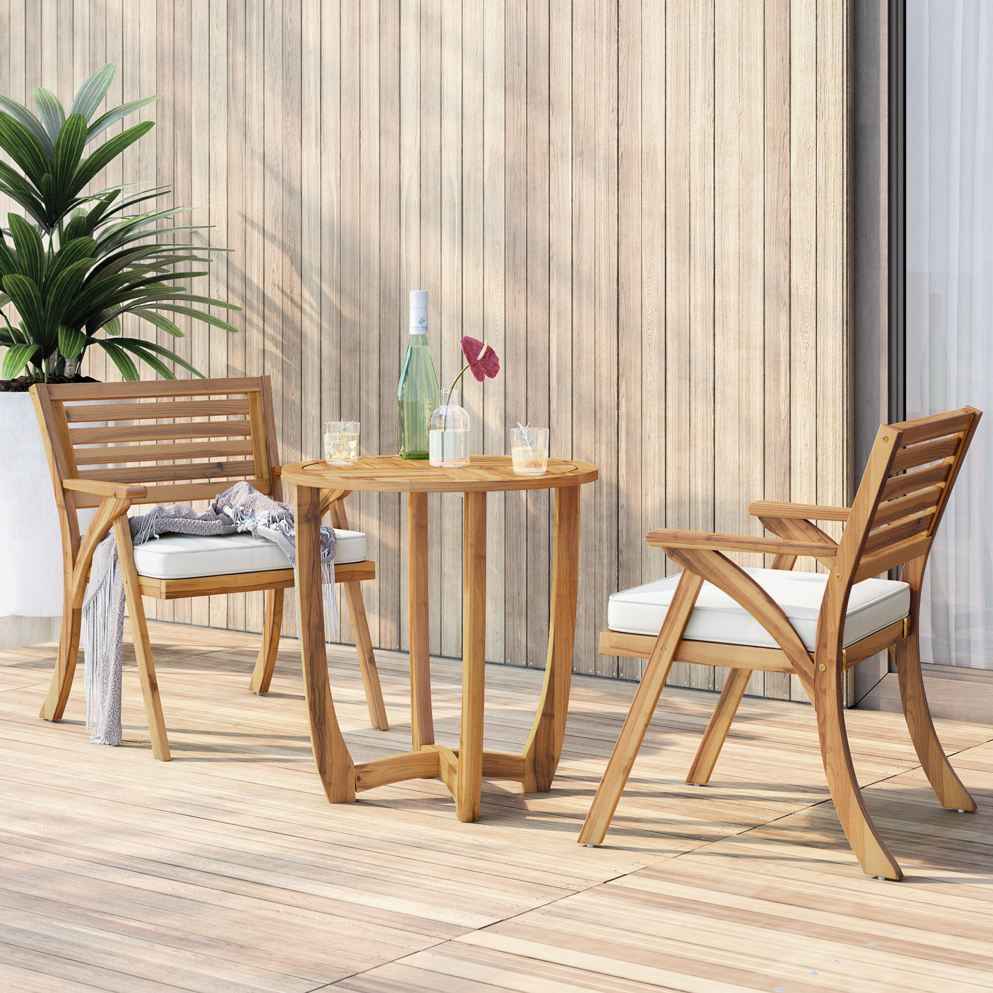Mercury Row 3 Piece Teak Bistro Set With Cushions Reviews Wayfair
