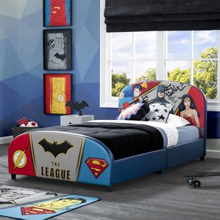 DC Comics Justice League Upholstered Twin Platform Bed by Delta Children