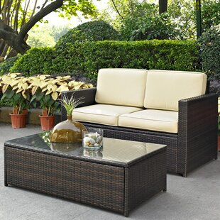 Belton 2 Piece Rattan Sofa Set with Cushions