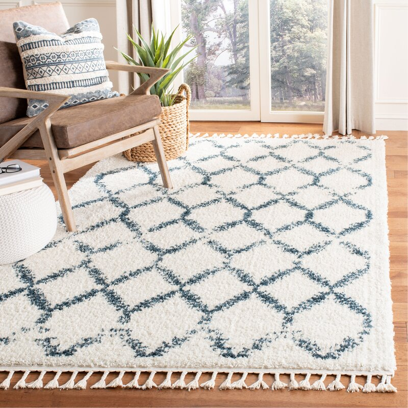 Union Rustic Triplett Cream Blue Area Rug Reviews Wayfair Ca