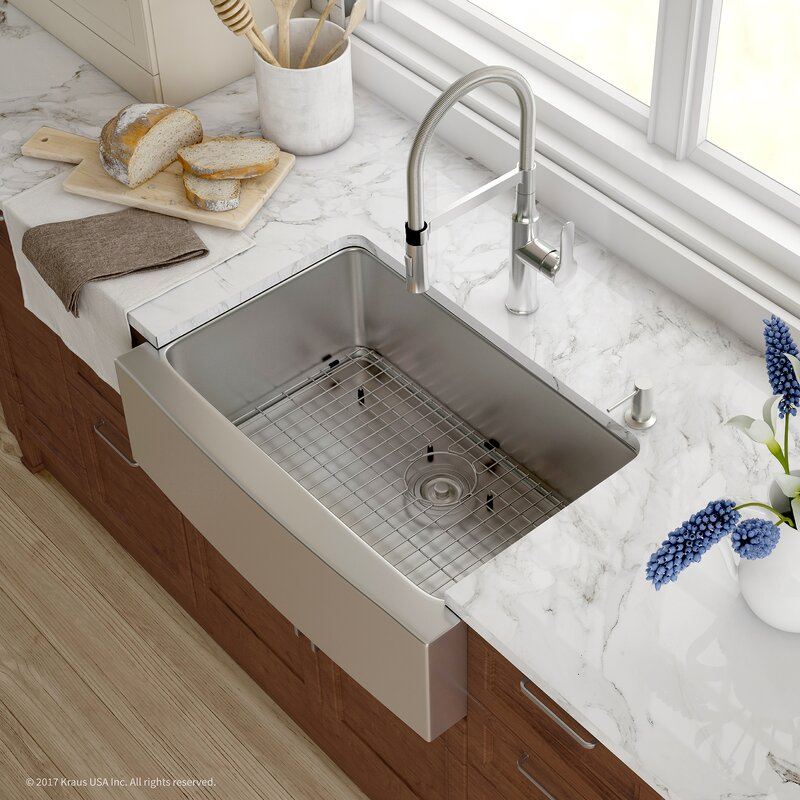 "Handmade Series 29.75"" x 20.75"" Farmhouse Kitchen Sink with Faucet and Soap  Dispenser"