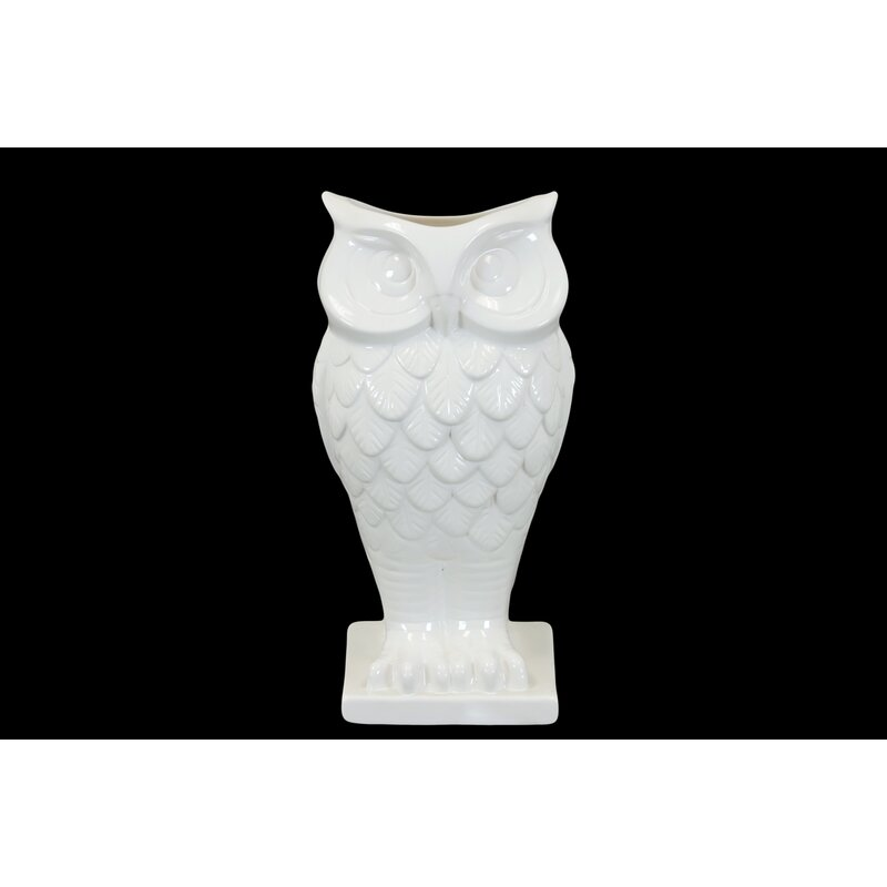 Urban Trends Ceramic Owl Vase With Base Gloss White Reviews Wayfair