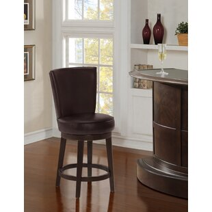 Kriemann Upholstered 24 Swivel Bar Stool by Winston Porter
