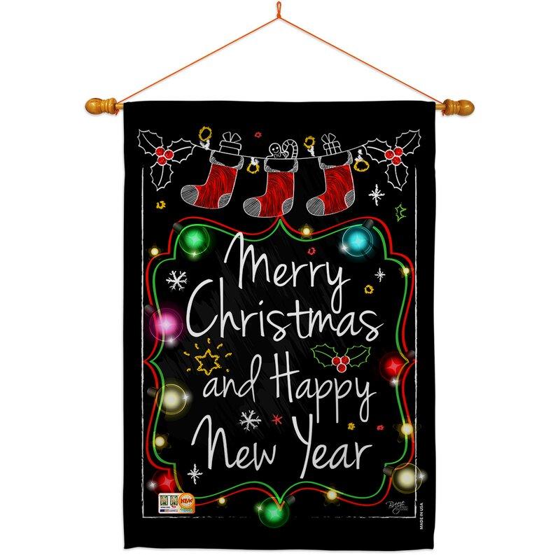 Breeze Decor Chalkboard Merry Christmas 2 Sided Polyester 40 X 28 In Flag Set Wayfair