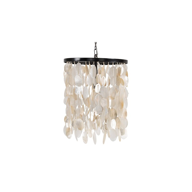 Bay Isle Home Omar 1 Light Unique Statement Geometric Pendant With Seashell Accents Wayfair