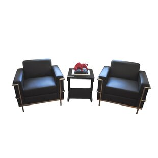 Caslin Armchair with Metal and Bonded Leather (Set of 2) by Orren Ellis