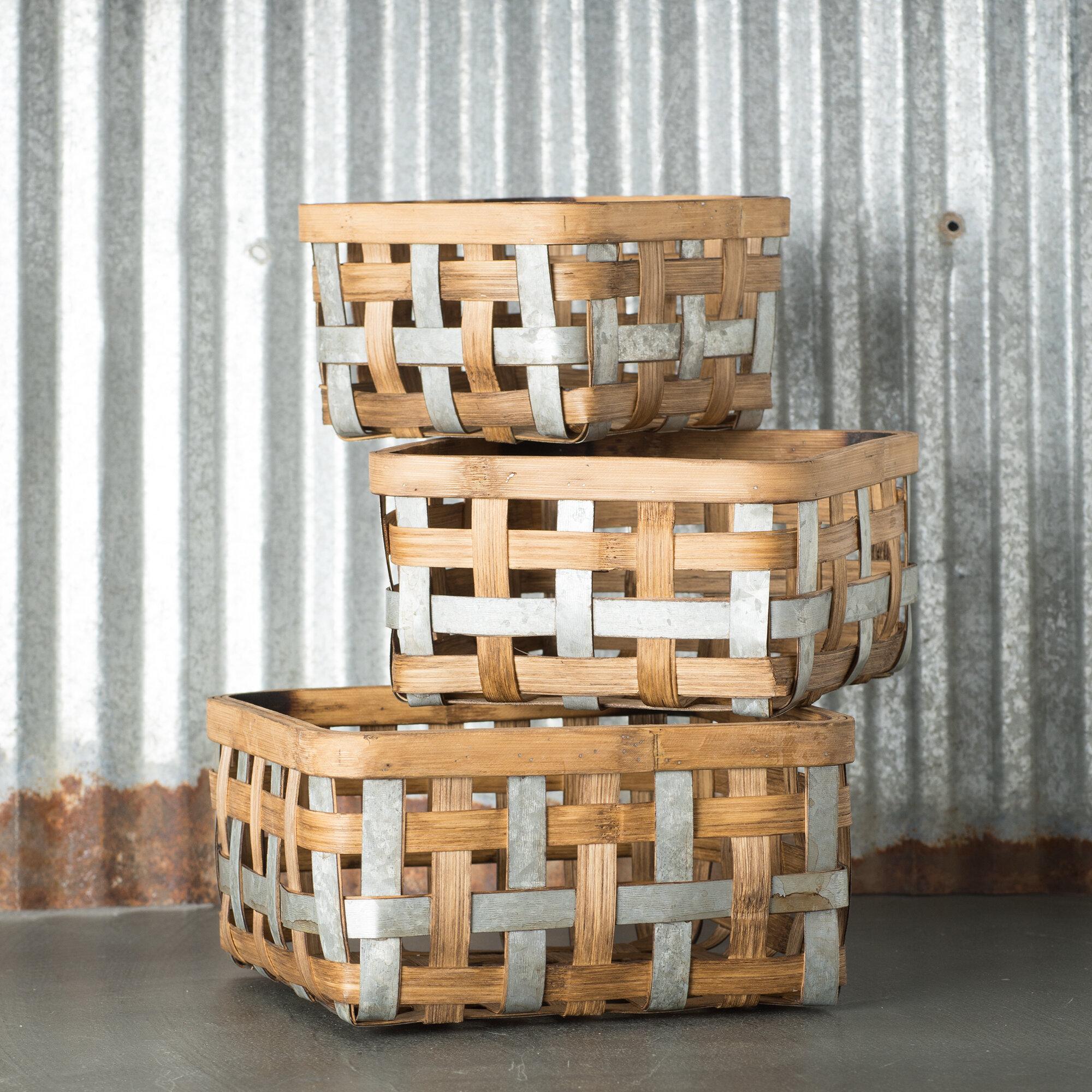 Gracie Oaks Bushel 3 Piece Bamboo Basket Set Reviews Wayfair