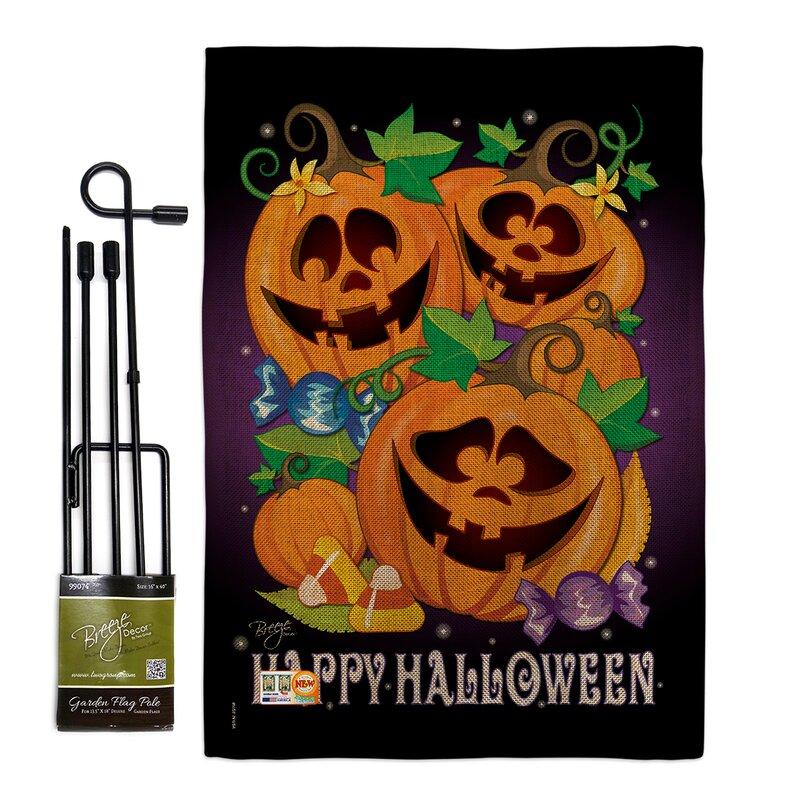 Breeze Decor Happy Pumpkins Fall Halloween Impressions 2 Sided Polyester 18 5 X 13 In Flag Set Wayfair