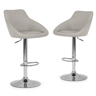 Alani Adjustable Height Swivel Bar Stool (Set of 2) Glamour Home Decor