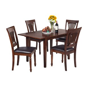 Assante 5 Piece Solid Wood Dining Set with Butterfly Leaf Table