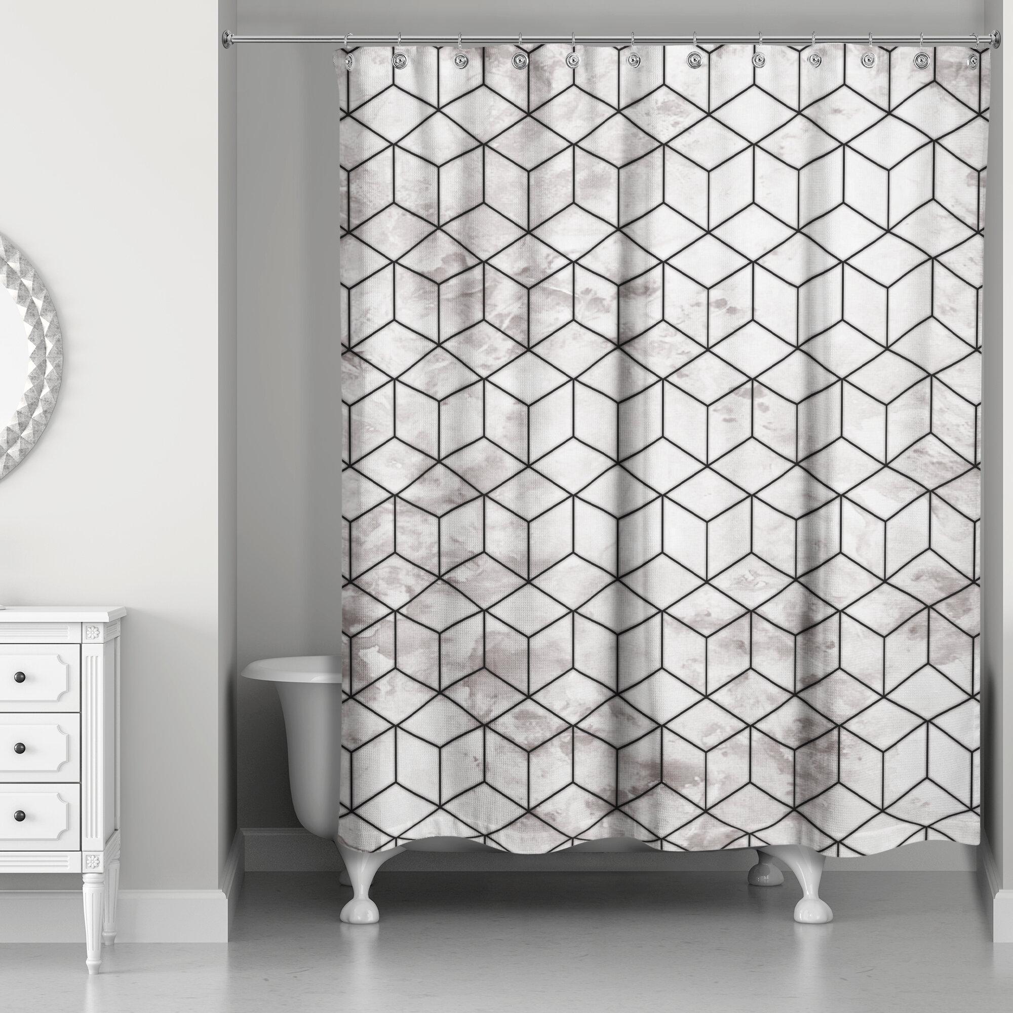Everly Quinn Bellamira Marble Geometric Cube Single Shower Curtain Reviews Wayfair Ca