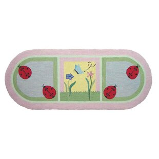 Read Reviews Ladybug Green/Pink Area Rug ByPatch Magic