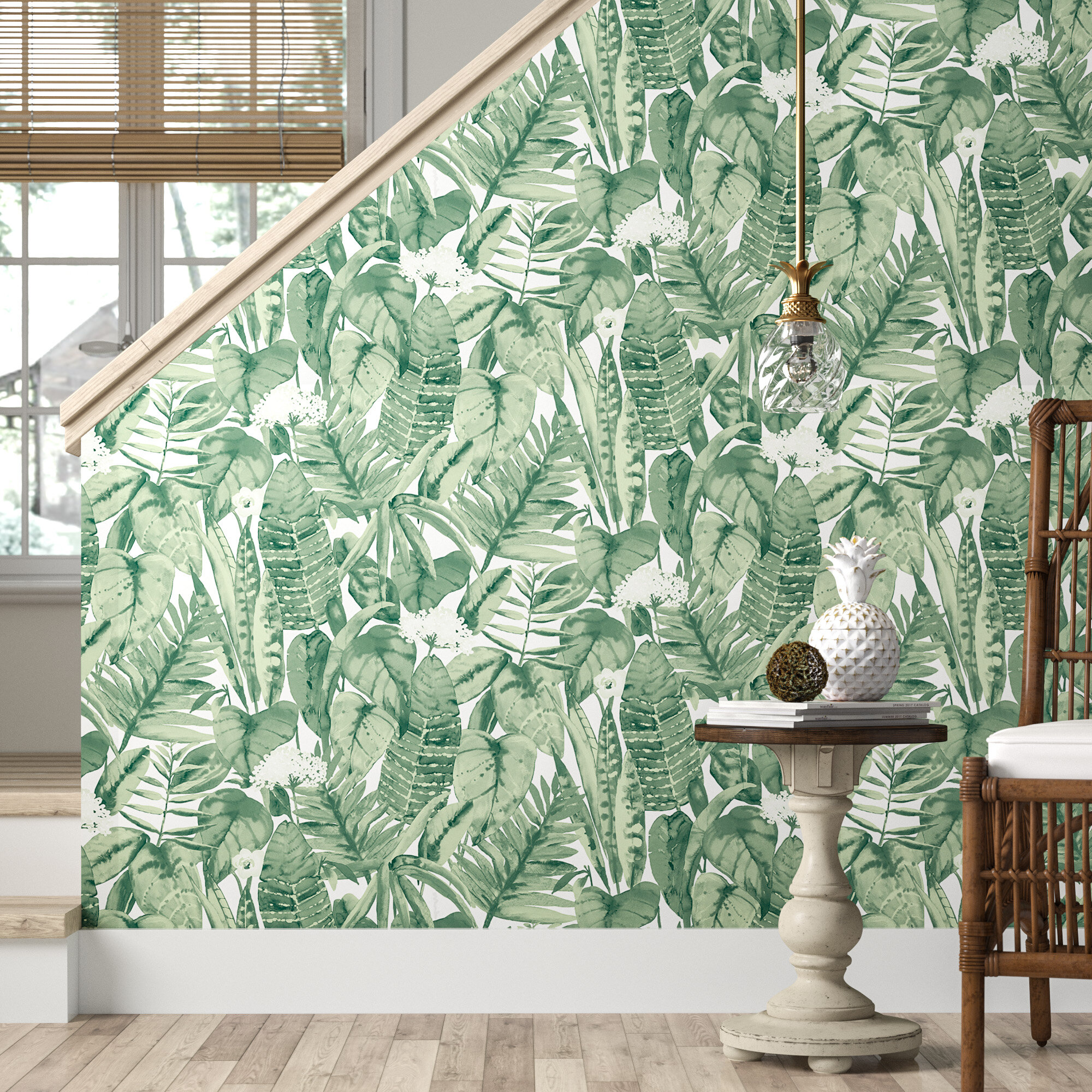 Bay Isle Home Waloo Tropical Jungle 16 5 L X 20 5 W Smooth Peel And Stick Wallpaper Roll Reviews Wayfair