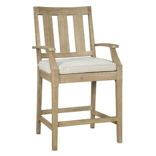 Anguiano Teak Patio Bar Stool with Cushion (Set of 2)