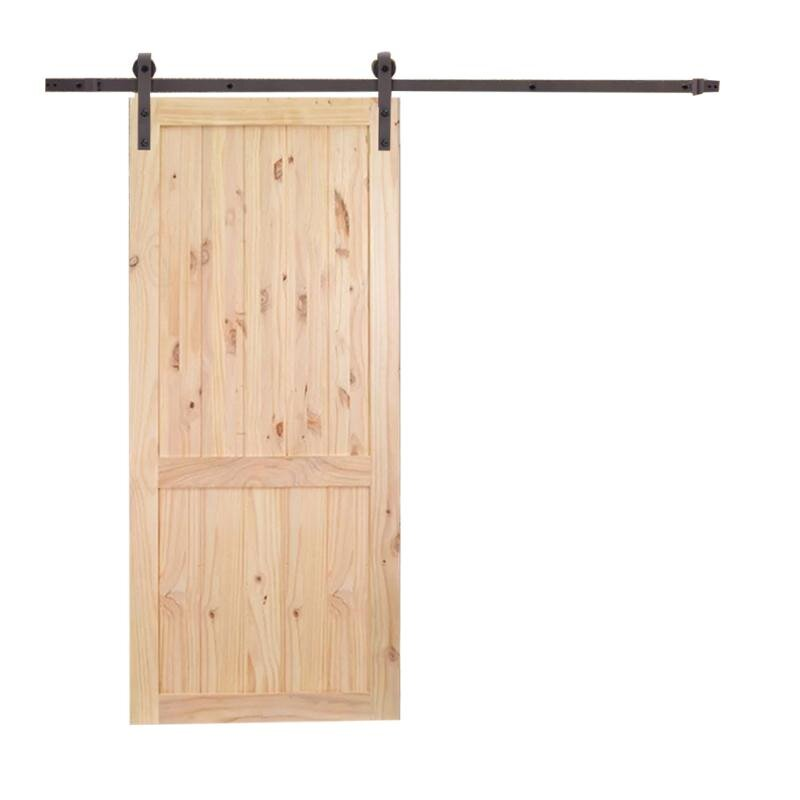 Unfinished 2-Panel Solid Wood Panelled Knotty Pine Slab Interior Barn Door  sc 1 st  Wayfair & Calhome Unfinished 2-Panel Solid Wood Panelled Knotty Pine Slab ...