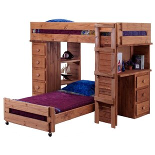 Chaves Student Twin Over Twin L-Shaped Bunk Bed with Desk and Chest