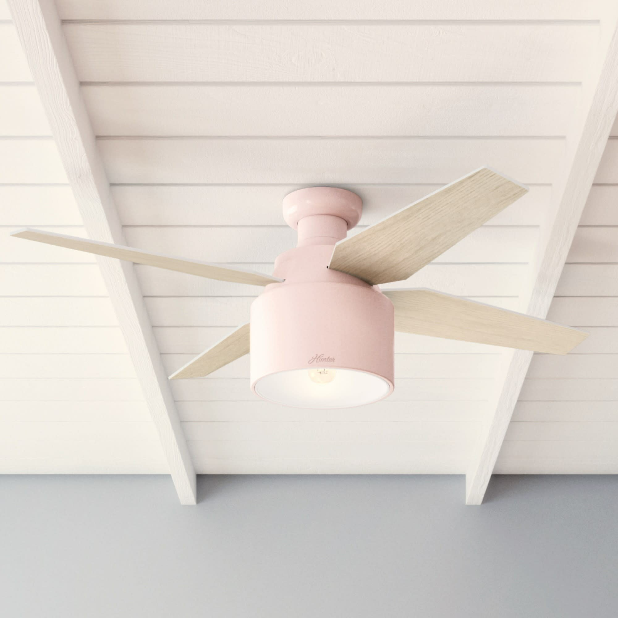 Image of: Hunter Fan 52 Cranbrook 4 Blade Flush Mount Ceiling Fan With Remote Control And Light Kit Included Reviews Wayfair