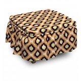 Ikat Geometric Indonesian Vivid 2 Piece Box Cushion Ottoman Slipcover Set by East Urban Home