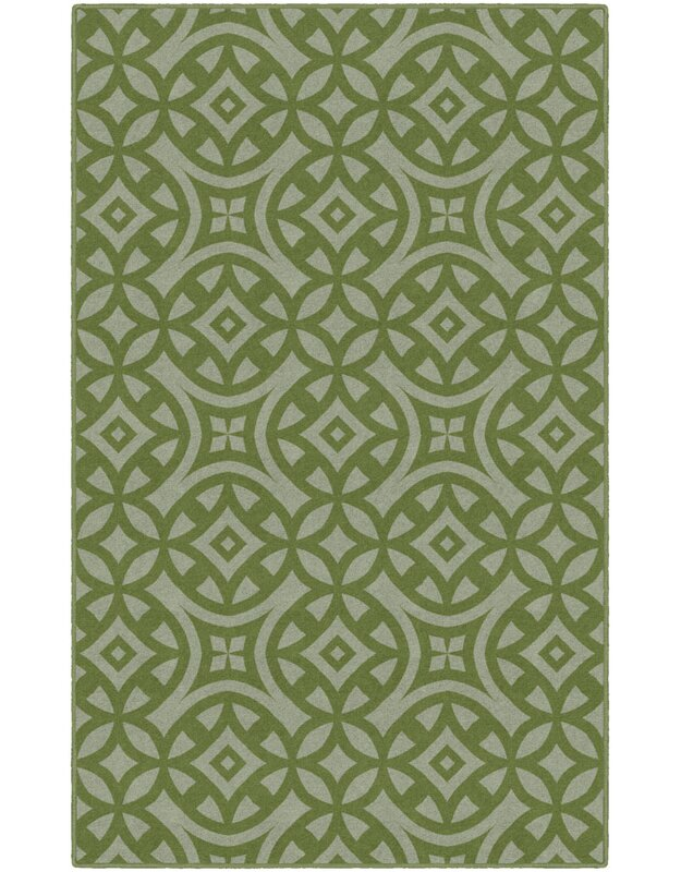 World Menagerie Mendoza Trellis Green Area Rug, Size: Rectangle 76 x 10