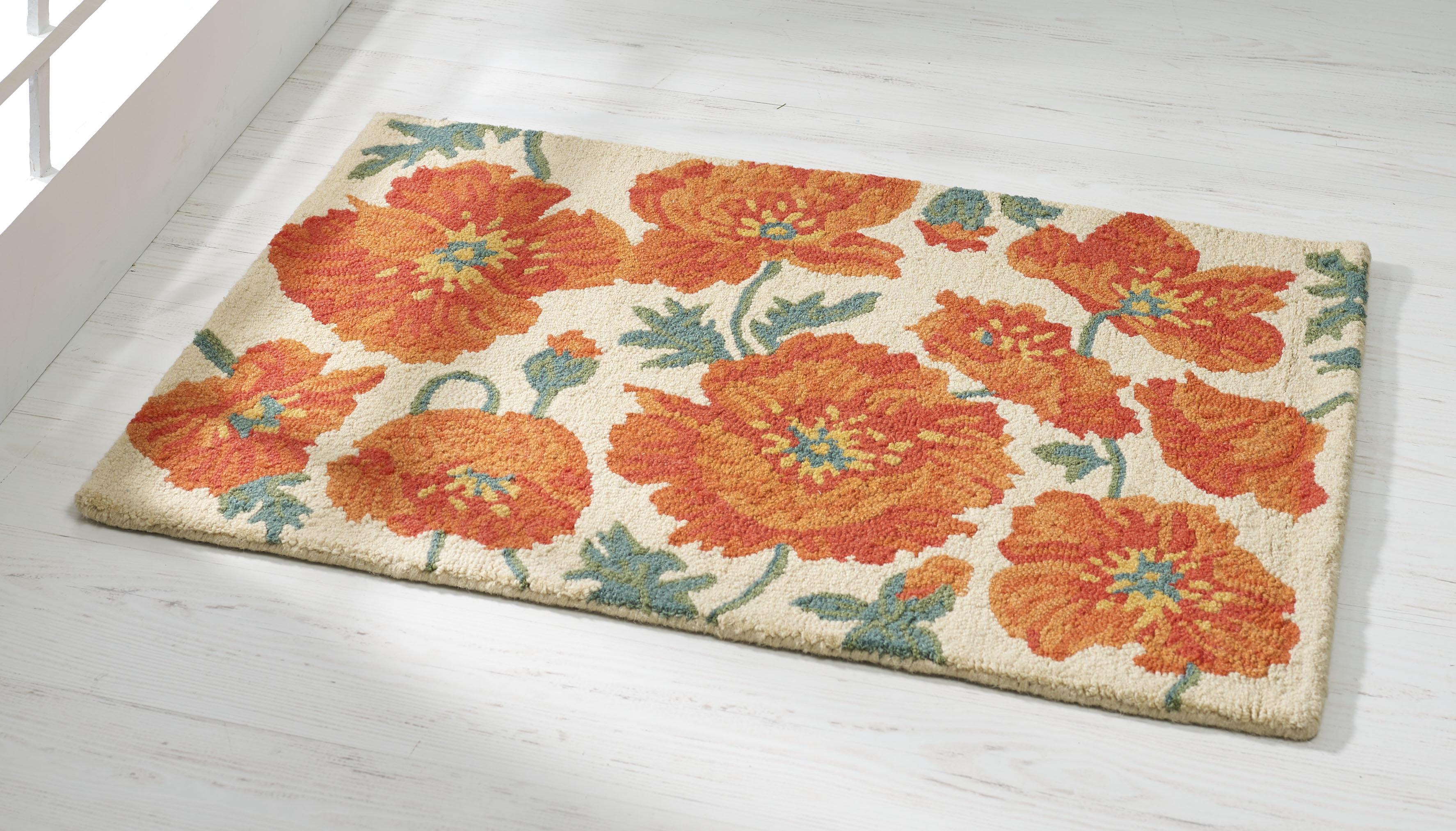 Hflt Floral Handmade Hooked Wool Orange Area Rug Wayfair