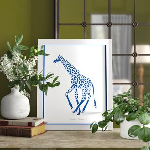 'Giraffe Safari Run' Framed Graphic Art Print