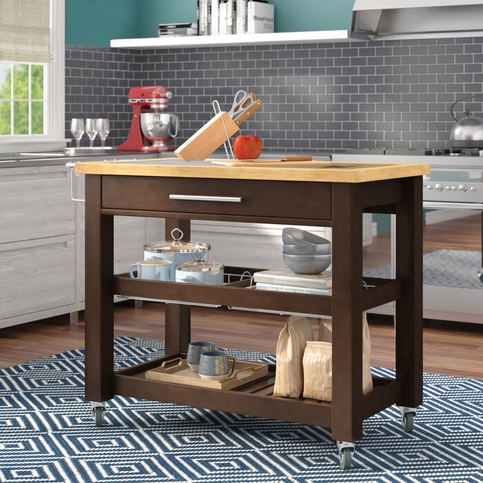 Sydney Kitchen Island with Granite and Wood Top