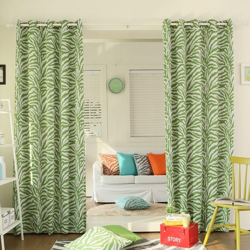 Zebra Room Animal Print Semi Sheer Grommet Curtain Panels
