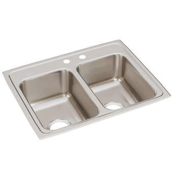 Elkay Lustertone Classic LRAD2918603 Equal Double Bowl Drop-In Stainless Steel ADA Sink
