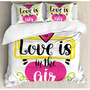 Quote Love is in the Air Phrase inside Heart Figure with Wings Retro Style Romantic Graphic Duvet Set by Ambesonne