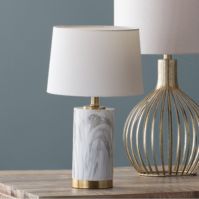 Wade Logan Jonesville Marble Print 18 Quot Table Lamp