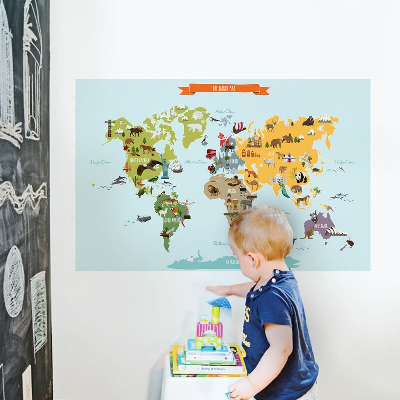 SimpleShapes Childrens World Map Poster Wall Decal Reviews - Wall map children's room