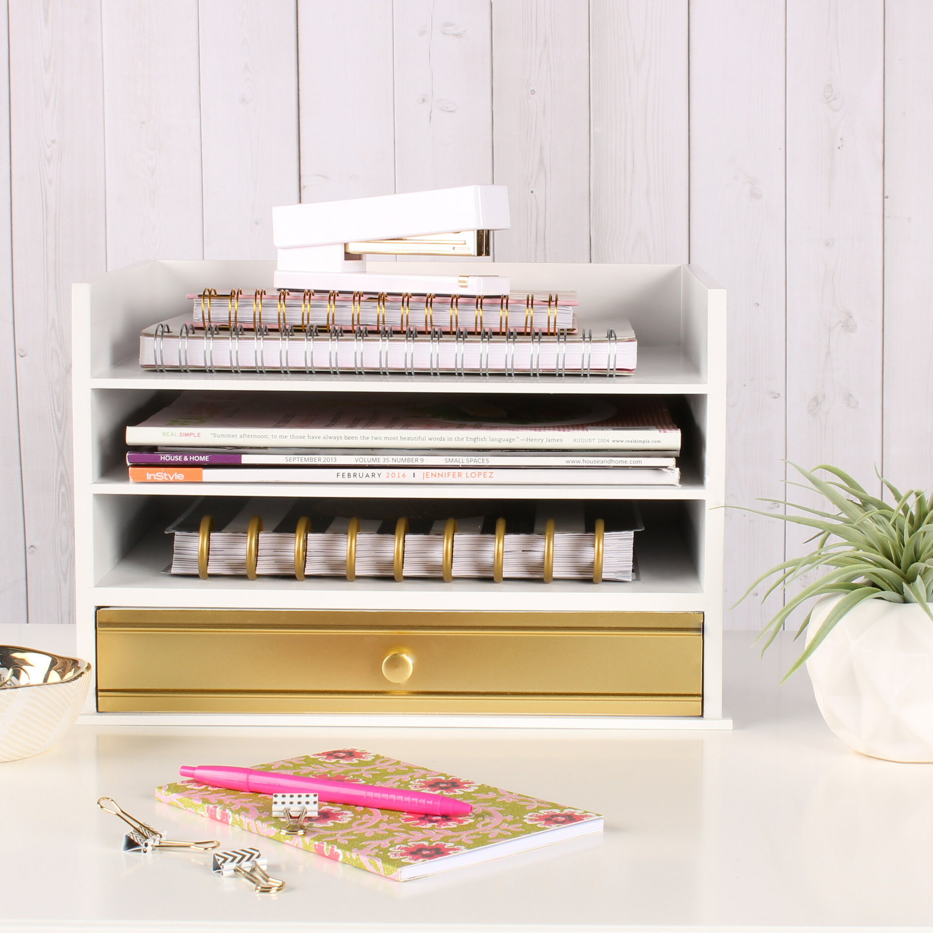 Industrious Desktop Wood Letter Tray with 48 Trays and Drawer