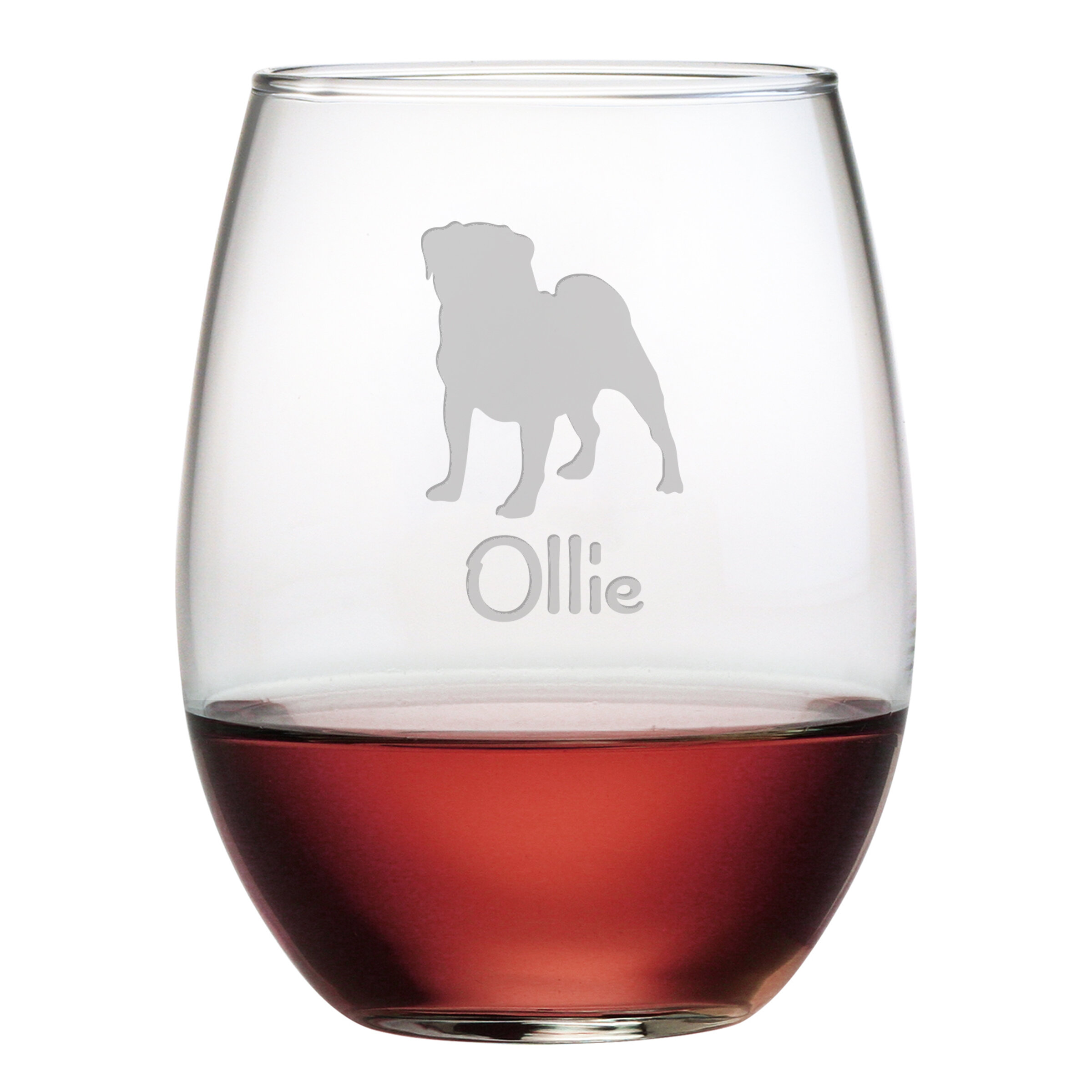 Susquehanna Glass Personalized Pug 21 Oz Stemless Wine Glass Wayfair