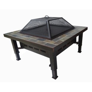 Slate-Top Steel Wood Burning Fire Pit Table