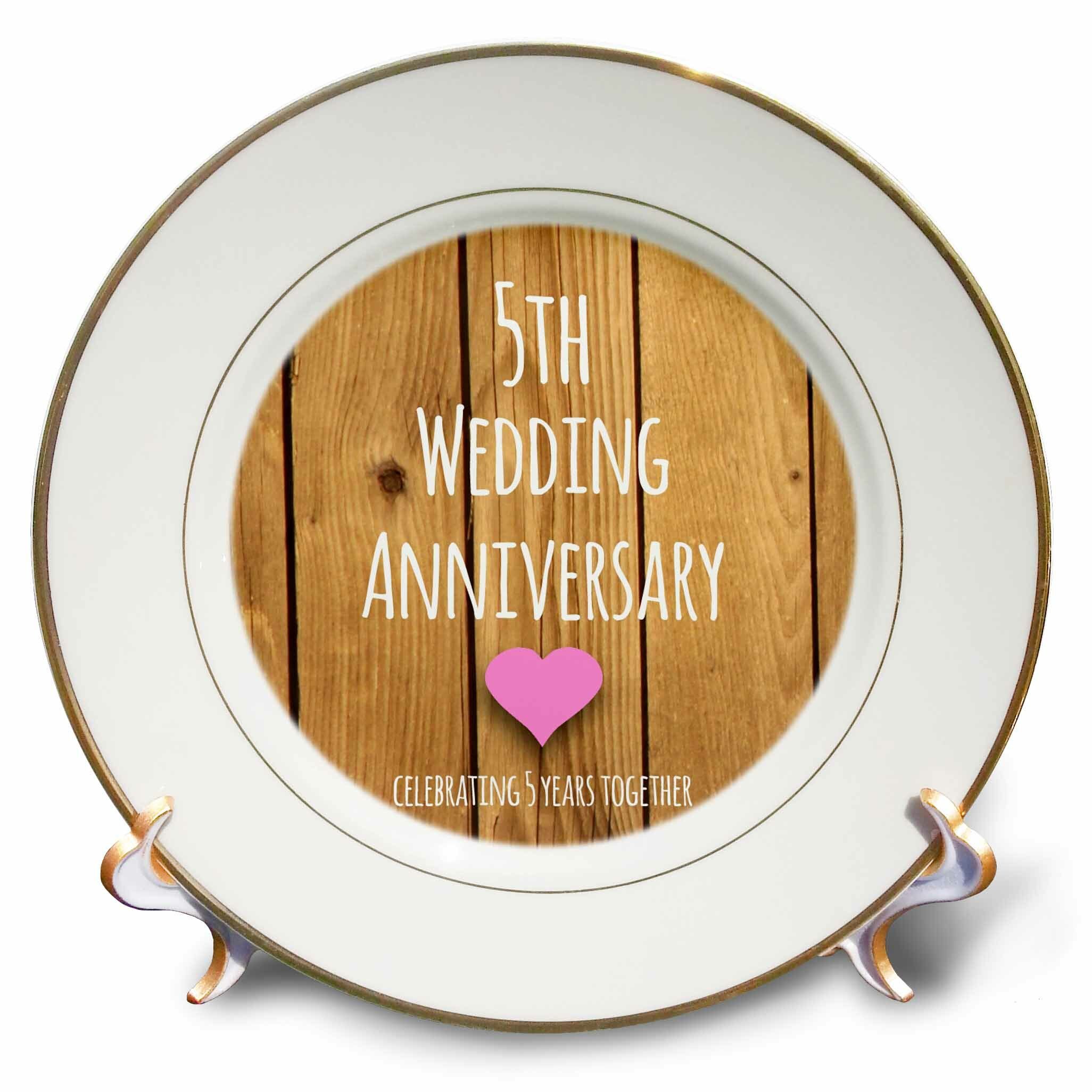 East Urban Home 5th Wedding Anniversary Gift Wood Celebrating 5 Years Together Fifth Anniversaries Porcelain Decorative Plate Wayfair