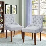 Montecello Tufted Linen Upholstered Arm Chair in Gray (Set of 2) by Canora Grey