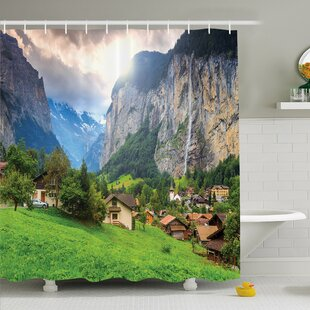 Nash Town by the Rocks on Waterfall Background European Peaks Sunlight the Alps Shower Curtain Set