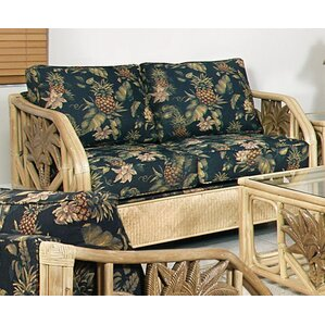 Cypress Upholstered Rattan Loveseat in Natur..