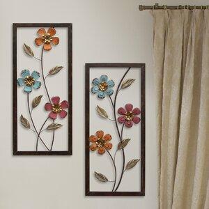 2 Piece Floral Panel Wall Du00e9cor Set