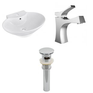 Ceramic 23 Wall Mount Bathroom Sink with Faucet and Overflow ByAmerican Imaginations
