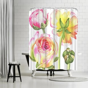 Elizabeth Hellman Yellow and Pink Ranunculus Single Shower Curtain