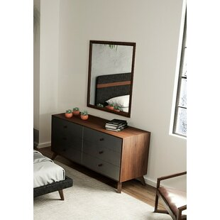 Lani Walnut 6 Drawer Double Dresser with Mirror